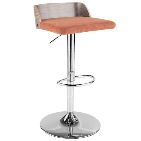 Carson Carrington Marstrand Light Grey Wood and Fabric Adjustable Bar Stool