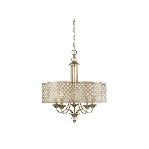 Silver Orchid Taylor Pyrite Metal 5-light Drum Chandelier