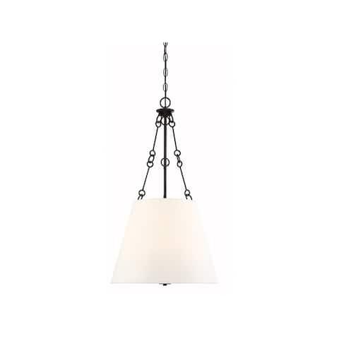 Austin White Fabric 4-light Pendant