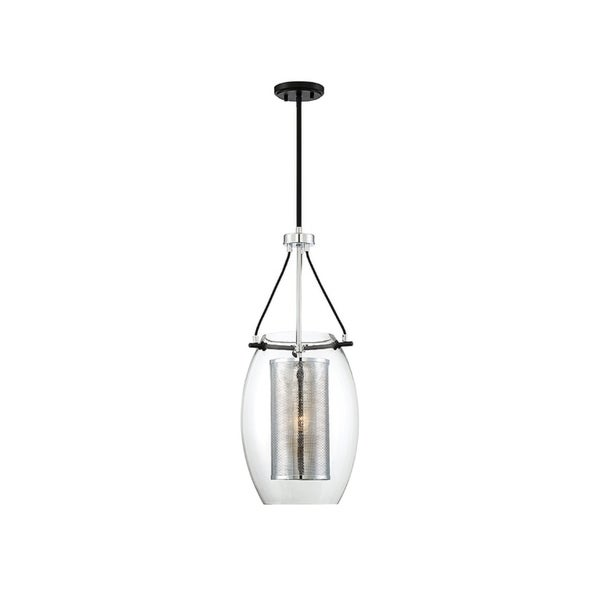 Dunbar Matte Black and Polished Chrome 1-light Pendant