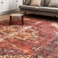 Traditional Distressed Red/ Navy Medallion Printed Rug - 5' x 7'6