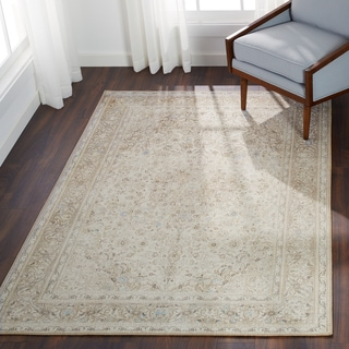 """Traditional Distressed Beige/ Taupe Medallion Printed Rug - 5' x 7'6"""""""