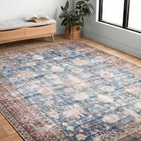 Traditional Distressed Blue/ Red Floral Printed Rug - 7'6 x 9'6