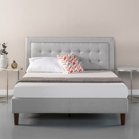 Priage by Zinus Upholstered Button-Tufted Premium Platform Bed, Sand