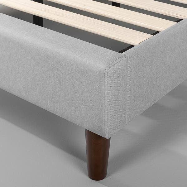 Zinus Dachelle Upholstered Button Tufted Premium Platform Bed Easy Assembly Mattress Foundation Dark Grey Full Strong Wood Slat Support