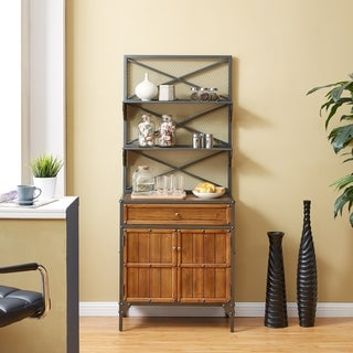 Harper Blvd Fieldbeck Gunmetal Gray w/ Natural Pine Bakers Rack