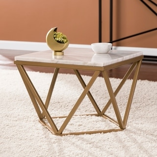 Harper Blvd Markley Champagne and Ivory Marble Accent Table
