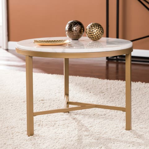 Garzeaux Champagne w/ Ivory Marble Accent Table