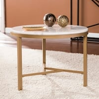 Harper Blvd Garzeaux Champagne w/ Ivory Marble Accent Table