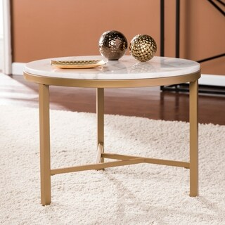 Harper Blvd Garzeaux Champagne w/ Ivory Marble Accent Table