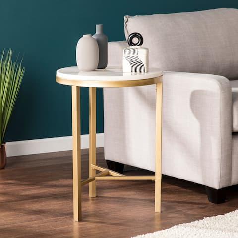 Garzeaux Champagne w/ Ivory Marble Side Table