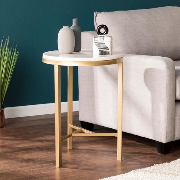 Garzeaux Champagne w/ Ivory Marble Side Table. Opens flyout.