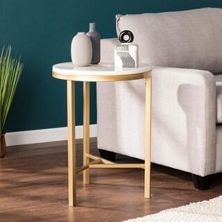 Harper Blvd Garzeaux Champagne w/ Ivory Marble Side Table