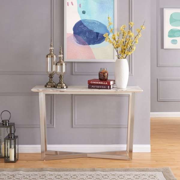 Harper Blvd Walham Brushed Nickel W/ Ivory Faux Marble Console Table