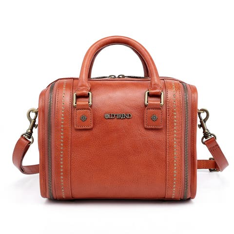 Old Trend Mini Trunk Genuine Leather Crossbody Bag