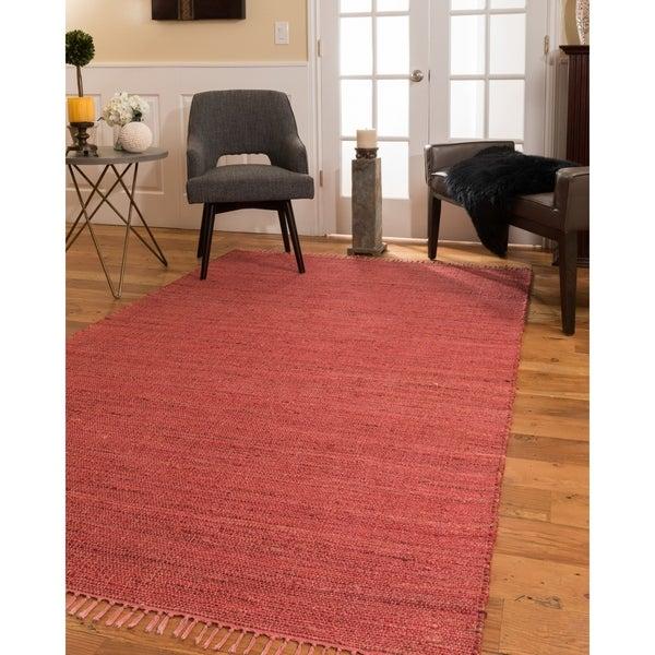 Natural Area Rugs 100% Natural Fiber Handmade Venice Jute Rectangular Rug (5' X 8') Red