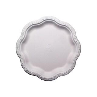 "10"" Acanthus Collection Floral Large Premium White Plates (50)"