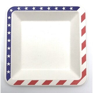"6.5"" American Flag Bagasse Square Plates (1000)"