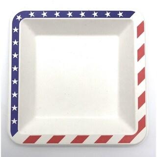 "6.5"" American Flag Bagasse Square Plates (100)"