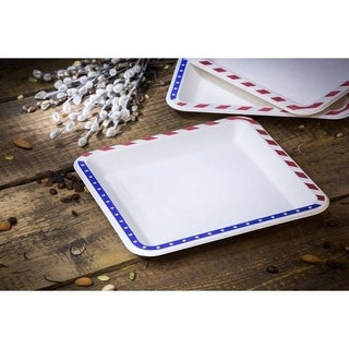 "9.5"" American Flag Bagasse Square Plates (50)"