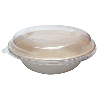 32 oz Round Bagasse Bowls with Lids (500)