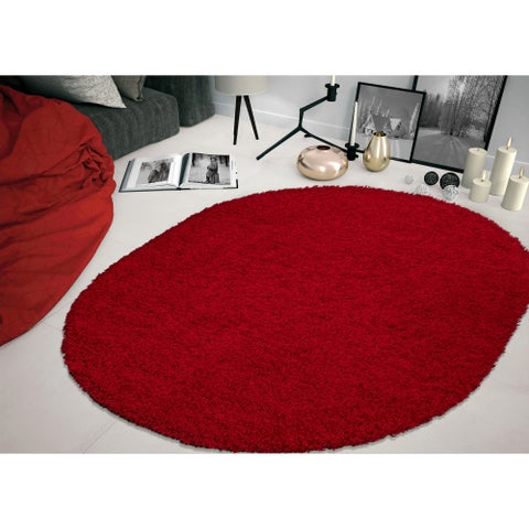 """Sweethome Stores Cozy Solid Design Oval Shag Area Rug (5'3"""" X 7')"""