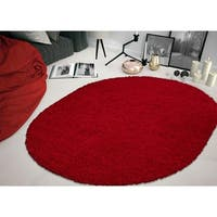 """Sweethome Stores Cozy Solid Design Oval Shag Area Rug (5'3"""" X 7') - 5'3"""" x 7'"""