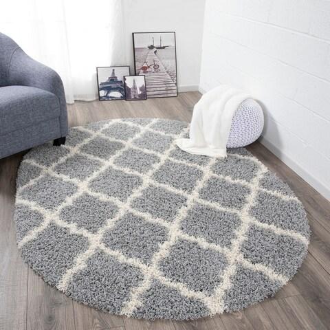 "Sweethome Stores Cozy Trellis Design Oval Shag Area Rug (5'3"" X 7')"