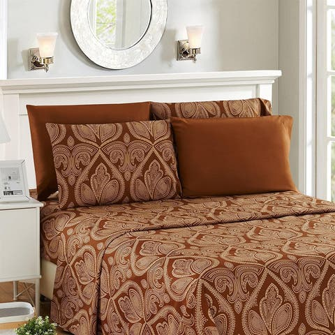 Paisley Printed 6 Piece Deep Pocket 1800 Series Ultra Soft Bed Sheet Set