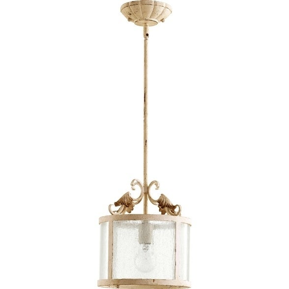 Quorum International Pendant With Clear Hurricane Glass and Decorative Frame.
