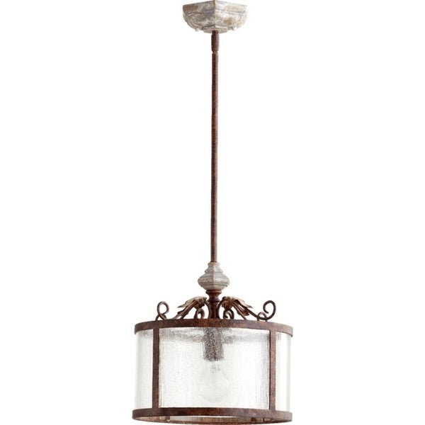Quorum International Pendant With Clear Seeded Glass and Decorative Frame.