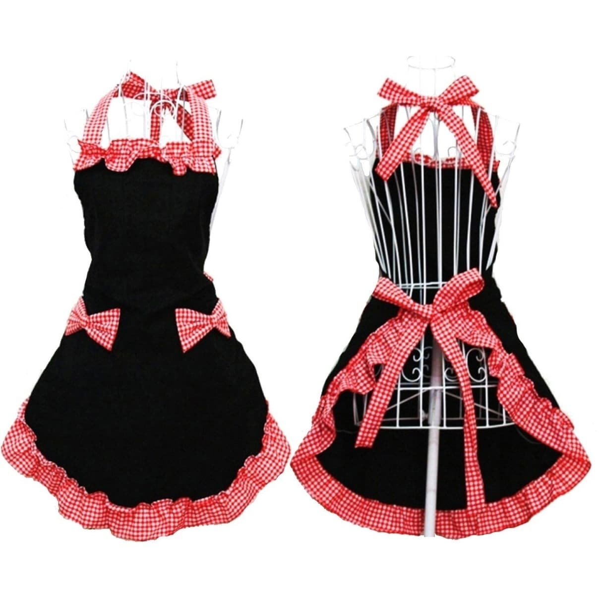 Womenu0027s Apron With Pockets, Black And Red