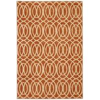 "Waves Spice Striped Nylon Rust Area Rug - 6'7"" x 9'8"""