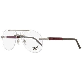 Montblanc MB446 008 Mens Ruthenium/Amaranth Wood 58 mm Eyeglasses - ruthenium/amaranth wood