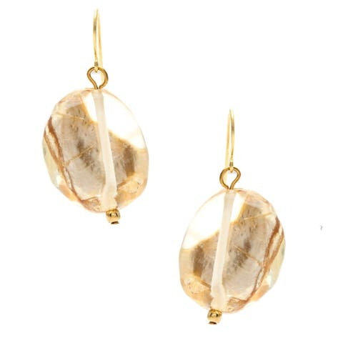 Goldtone Gold Fleck Lucite Double Drop Earrings - brown
