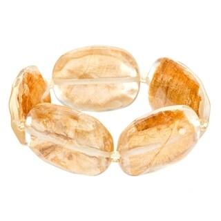 Gold Fleck Lucite Stretch Bracelet - Brown