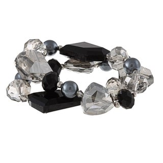 Alexa Starr Two Row Silver Pearl and Crystal Stretch Bracelet