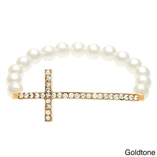 Goldtone Pearl and Rhinestone Sideways Cross Bracelet