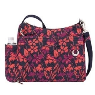 Travelon Anti-Theft Boho Square Painted Floral Crossbody Handbag