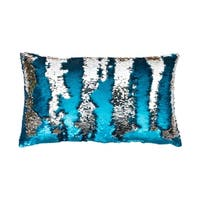 12x20 Melody Mermaid Reversed to Shiny Metallic Faux Linen Pillow