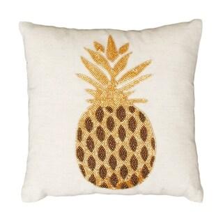 12x12 Natural & Gold Paulina Pineapple Beaded Pillow