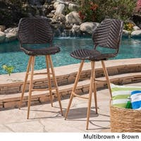 Laryn Outdoor Wicker Wood Barstool (Set of 2) by Christopher Knight Home