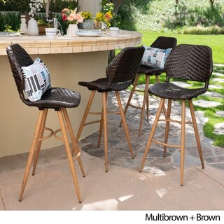 Laryn Outdoor Wicker Wood Barstool (Set of 4) by Christopher Knight Home