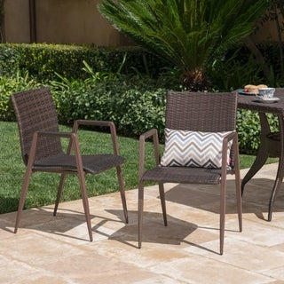 Chelsea Outdoor Wicker Dining Chair (Set of 2) by Christopher Knight Home