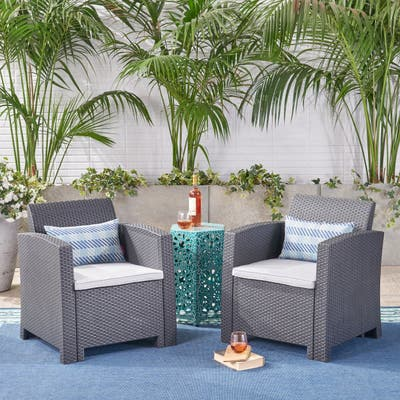 St. Johns Outdoor Wicker Club Chair with Cushions (Set of 2) by Christopher Knight Home