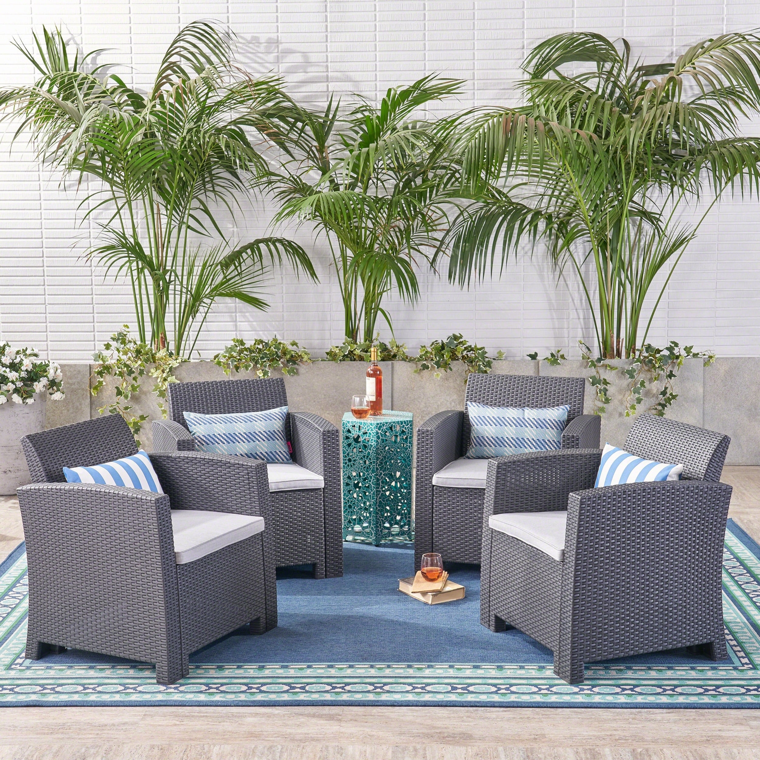 St Johns Outdoor Faux Wicker Print Club Chair With Cushions Set Of 4 By Christopher Knight Home On Sale Overstock 20523583