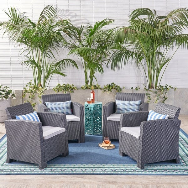 St. Johns Outdoor Faux Wicker Print Club Chair with Cushions (Set of 4) by Christopher Knight Home. Opens flyout.