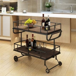 Lavinia Industrial Wood Bar Cart by Christopher Knight Home