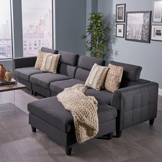 Amias Modern 4-piece Chaise Sectional Sofa Set by Christopher Knight Home