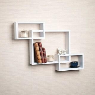 Danya B Intersecting White Laminate Wall Shelf